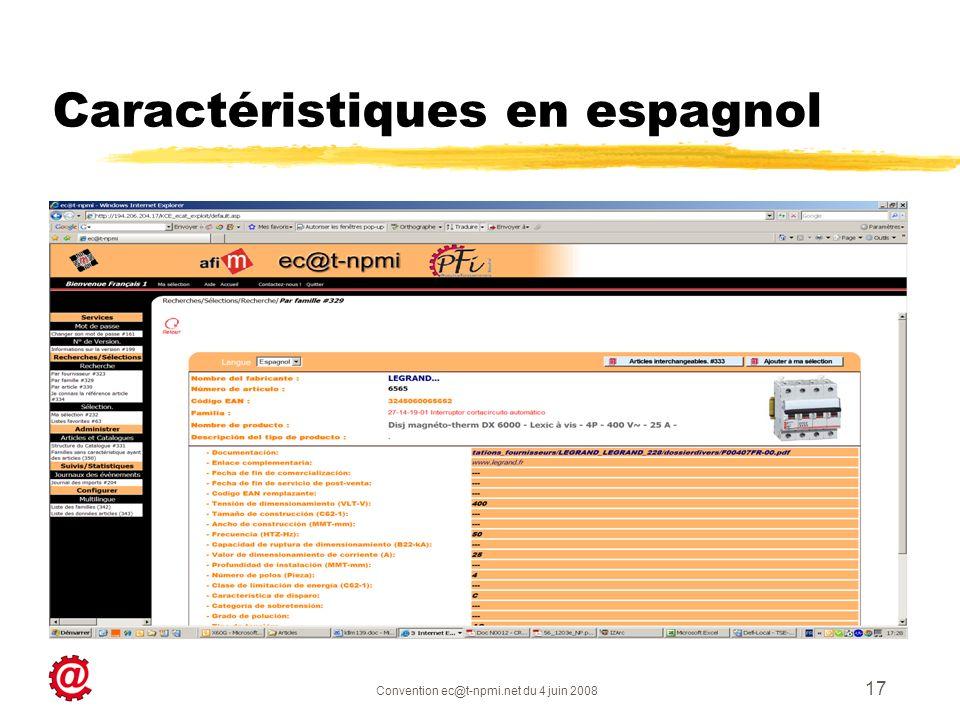 Convention ec@t-npmi.net du 4 juin 2008 17 Caractéristiques en espagnol