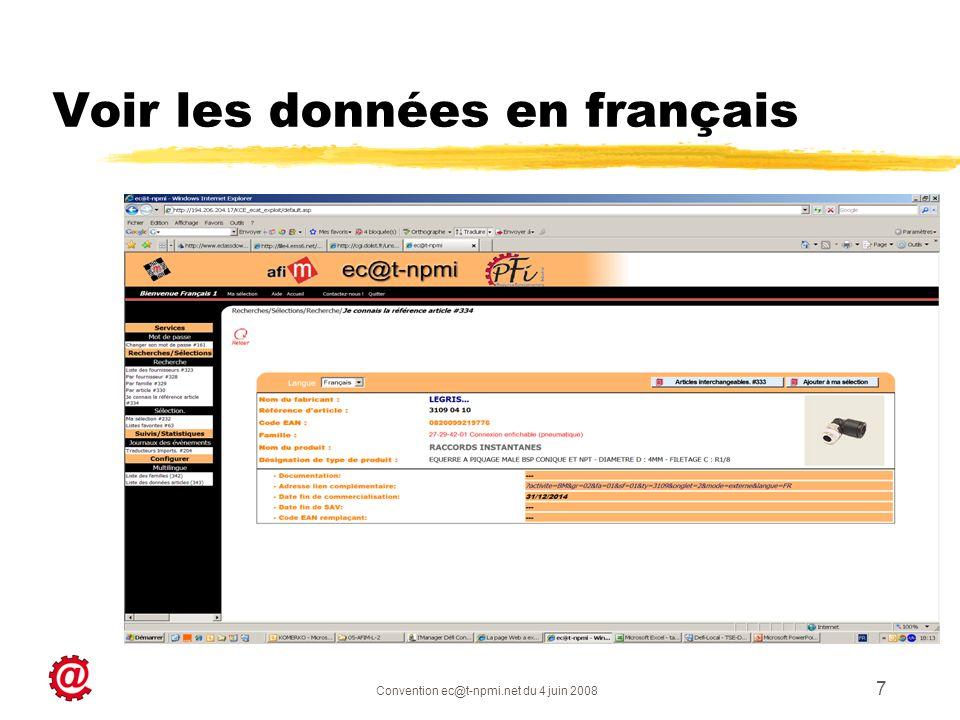 Convention ec@t-npmi.net du 4 juin 2008 7 Voir les données en français