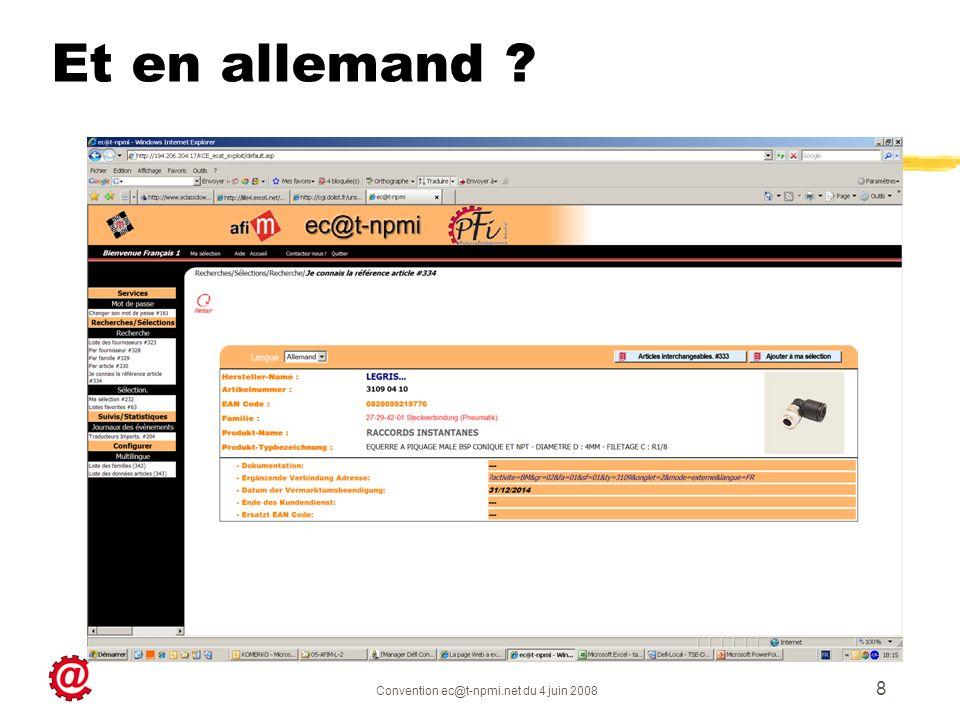 Convention ec@t-npmi.net du 4 juin 2008 8 Et en allemand ?