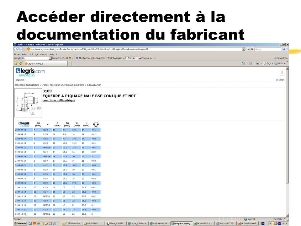 Convention ec@t-npmi.net du 4 juin 2008 9 Accéder directement à la documentation du fabricant