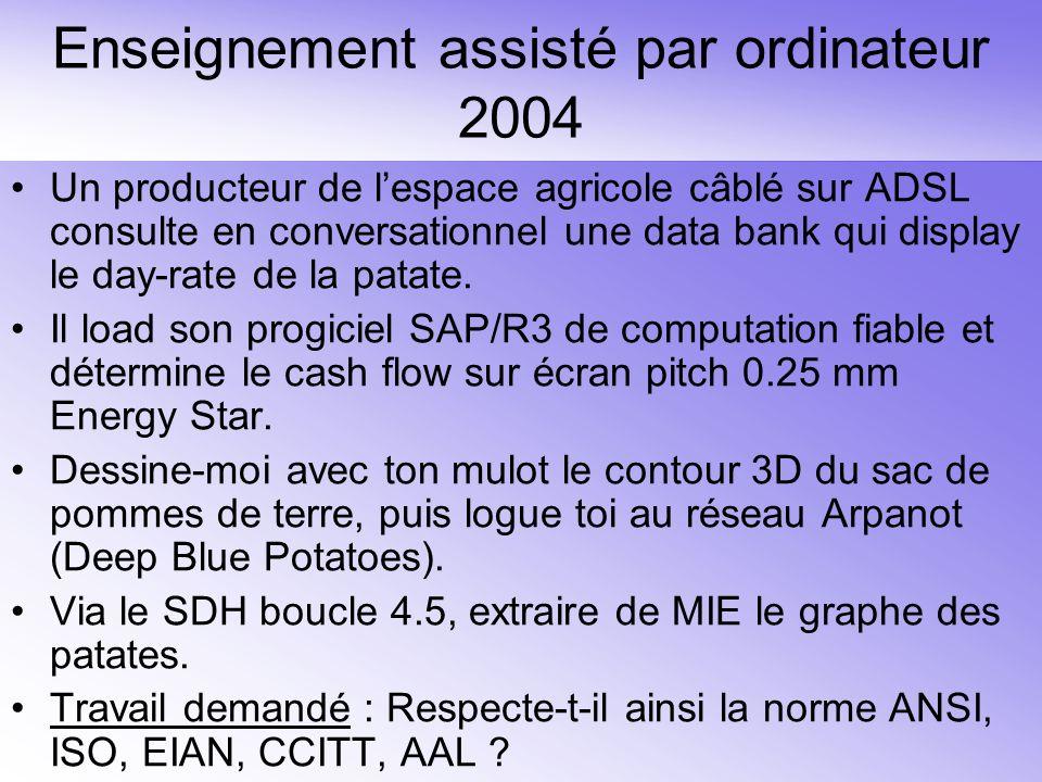Enseignement assisté par ordinateur 2004 Un producteur de lespace agricole câblé sur ADSL consulte en conversationnel une data bank qui display le day-rate de la patate.