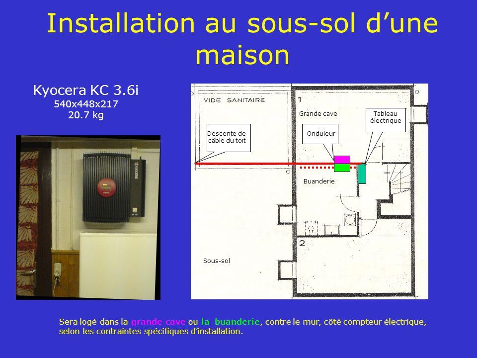 Installation au sous-sol dune maison Kyocera KC 3.6i 540x448x217 20.7 kg Sera logé dans la grande cave ou la buanderie, contre le mur, côté compteur é