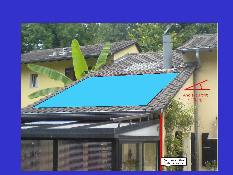 Angle du toit ~20deg. Descente câble Vide sanitaire