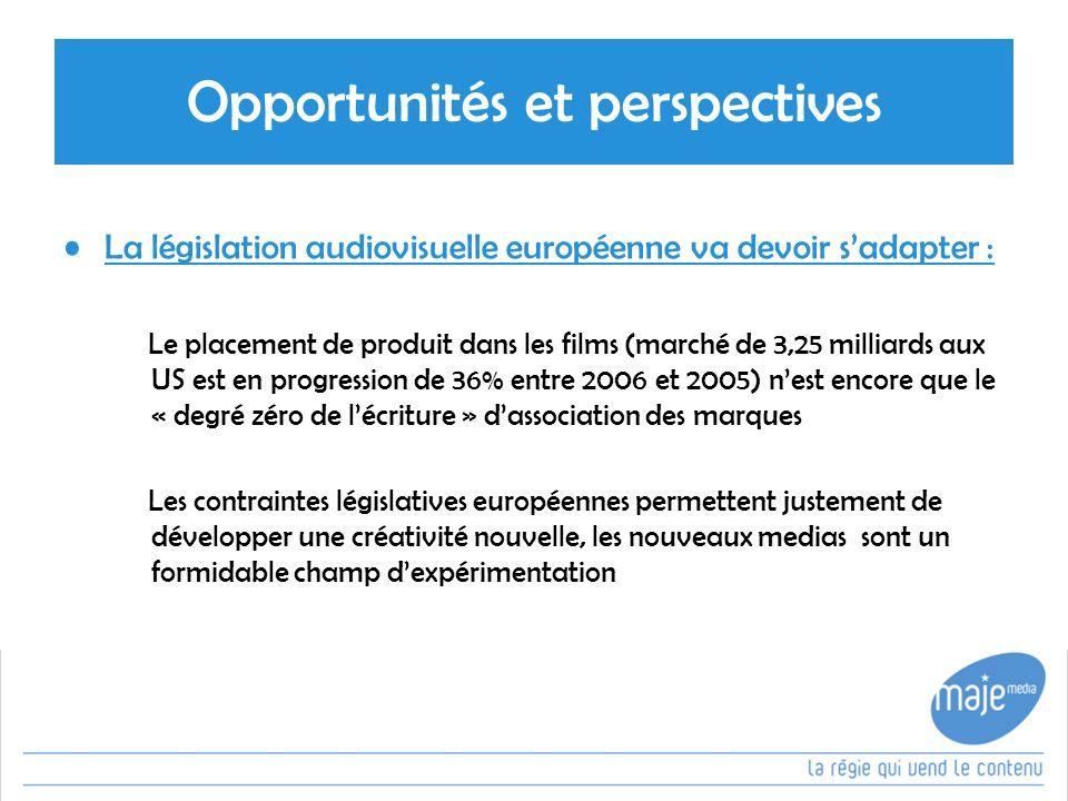 Opportunités et perspectives La législation audiovisuelle européenne va devoir sadapter : Le placement de produit dans les films (marché de 3,25 milliards aux US est en progression de 36% entre 2006 et 2005) nest encore que le « degré zéro de lécriture » dassociation des marques Les contraintes législatives européennes permettent justement de développer une créativité nouvelle, les nouveaux medias sont un formidable champ dexpérimentation