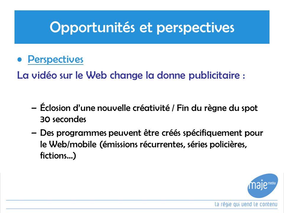 Opportunités et perspectives Perspectives La vidéo sur le Web change la donne publicitaire : –Éclosion dune nouvelle créativité / Fin du règne du spot 30 secondes –Des programmes peuvent être créés spécifiquement pour le Web/mobile (émissions récurrentes, séries policières, fictions…)