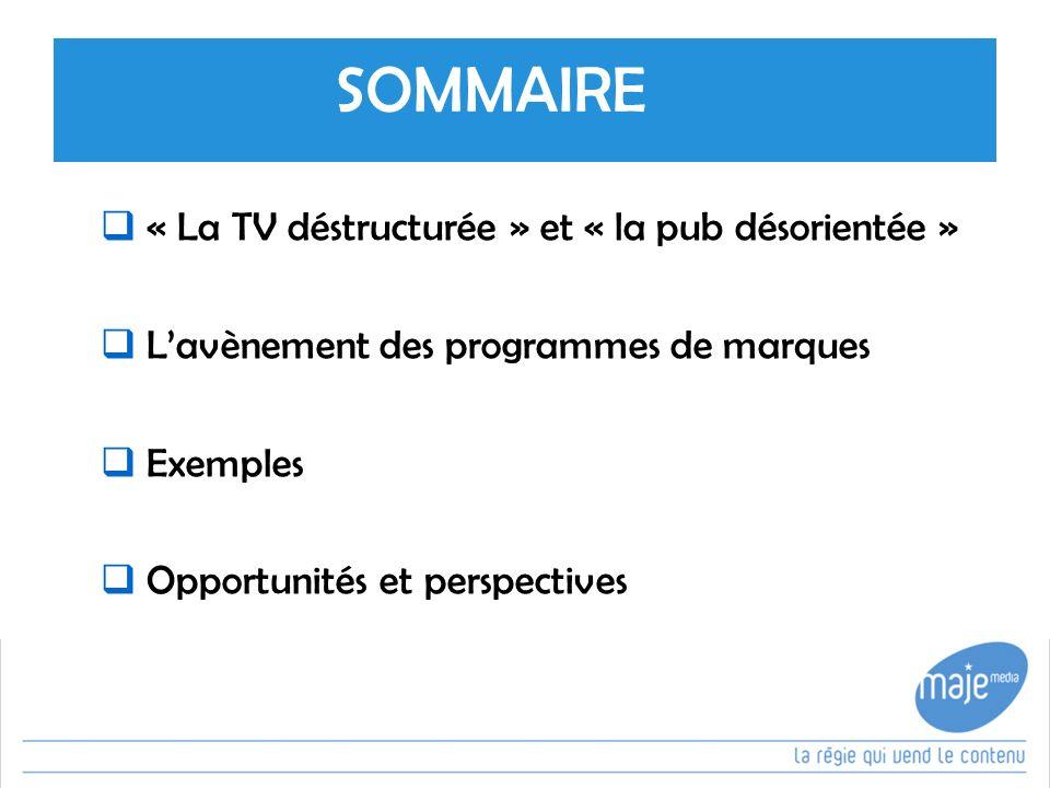 SOMMAIRE « La TV déstructurée » et « la pub désorientée » Lavènement des programmes de marques Exemples Opportunités et perspectives