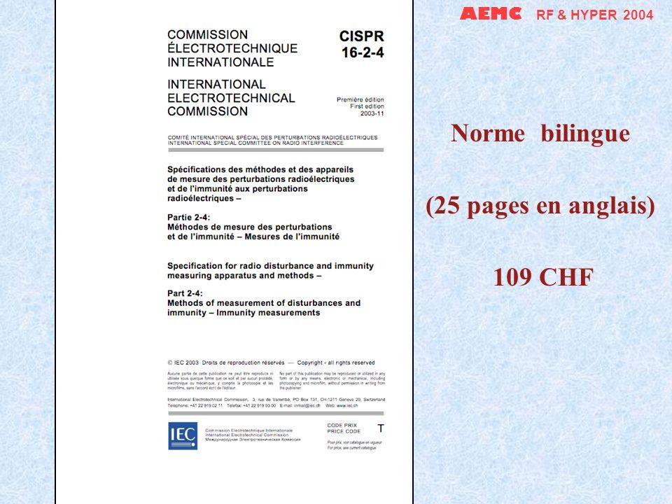 AEMC RF & HYPER 2004 Norme bilingue (67 pages en anglais) 219 CHF