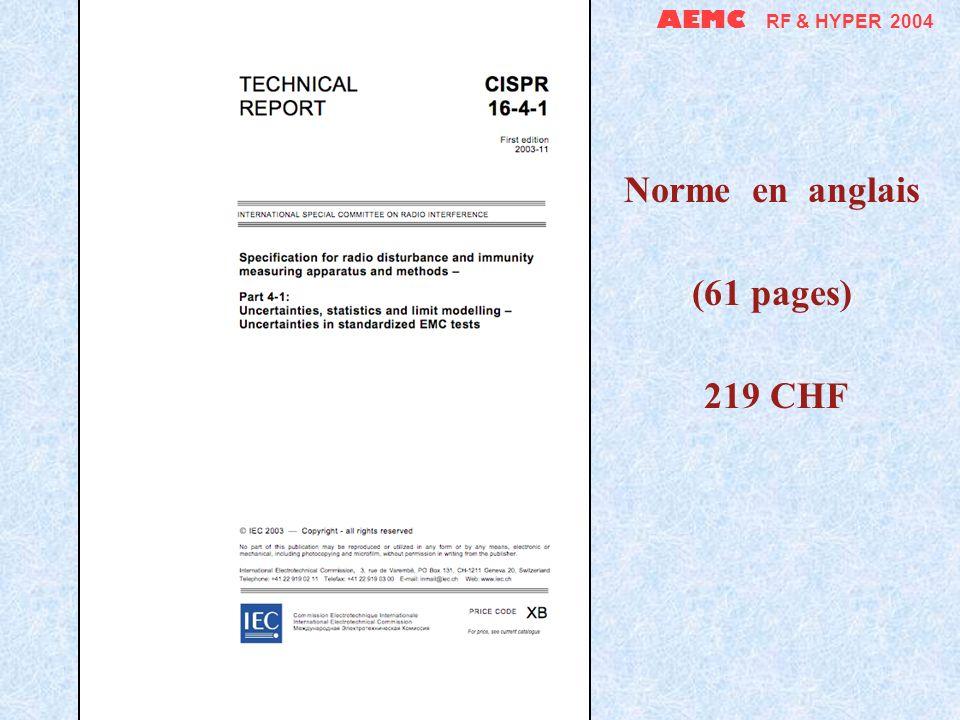 AEMC RF & HYPER 2004 Rapport technique (192 pages en anglais) 307 CHF