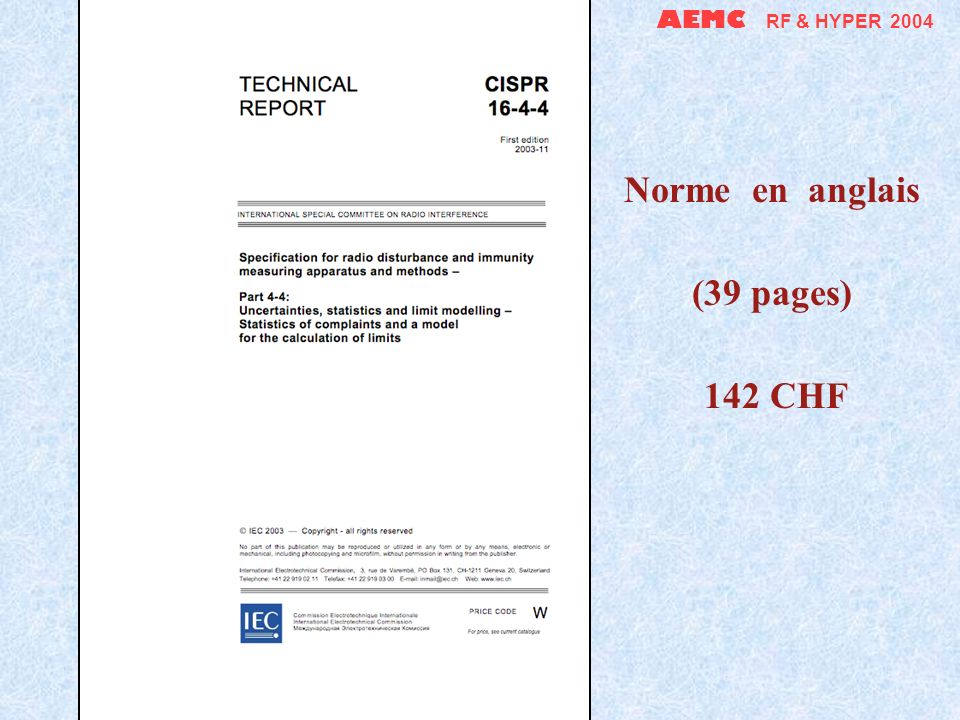 AEMC RF & HYPER 2004 Norme en anglais (25 pages) 109 CHF