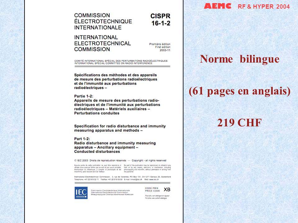 AEMC RF & HYPER 2004 Norme bilingue (22 pages en anglais) 98 CHF
