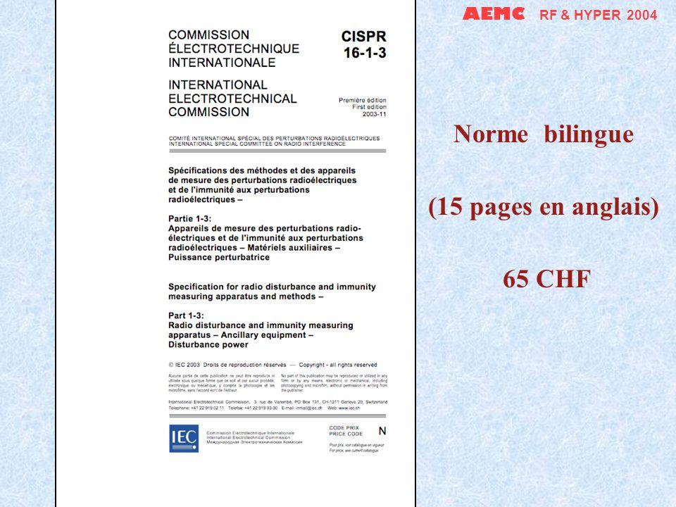 AEMC RF & HYPER 2004 Norme bilingue (61 pages en anglais) 219 CHF