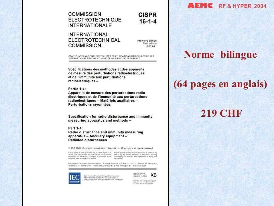 AEMC RF & HYPER 2004 Norme bilingue (15 pages en anglais) 65 CHF