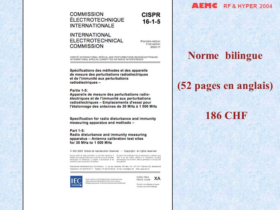 AEMC RF & HYPER 2004 Et ne pensons pas trop aux projets ni à tous les futurs amendements… Coût total de toutes les CISPR 16 : 1942 CHF seulement (soit 1300, au lieu de 2515 CHF !) pour 784 pages…