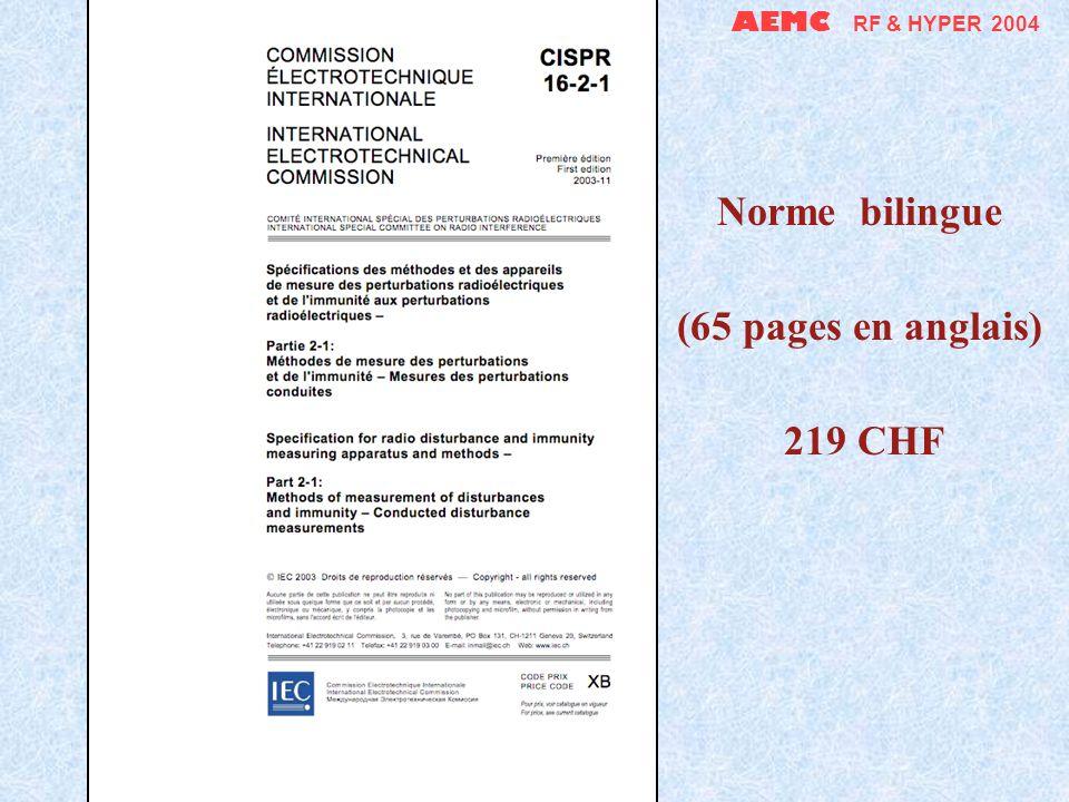 AEMC RF & HYPER 2004 Il existe de très bons ouvrages en français, plus pérennes et moins chers que les normes .