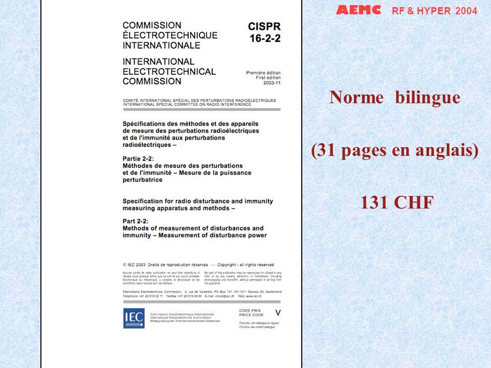 AEMC RF & HYPER 2004 Norme bilingue (31 pages en anglais) 131 CHF
