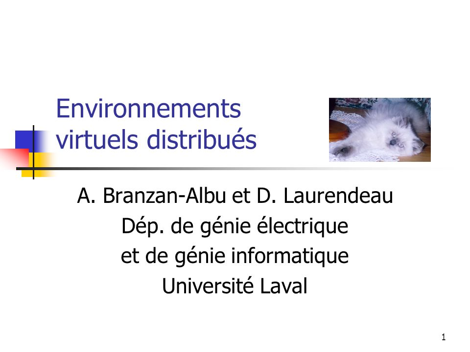 2 Introduction Définition, caractéristiques et défis posés aux environnements virtuels répartis