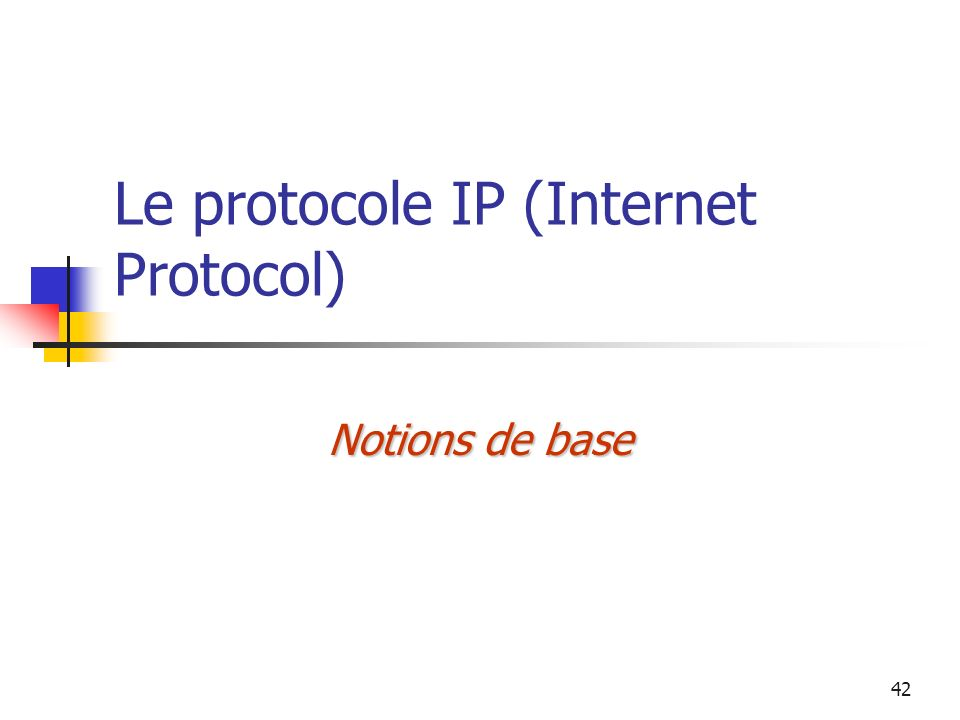 42 Le protocole IP (Internet Protocol) Notions de base