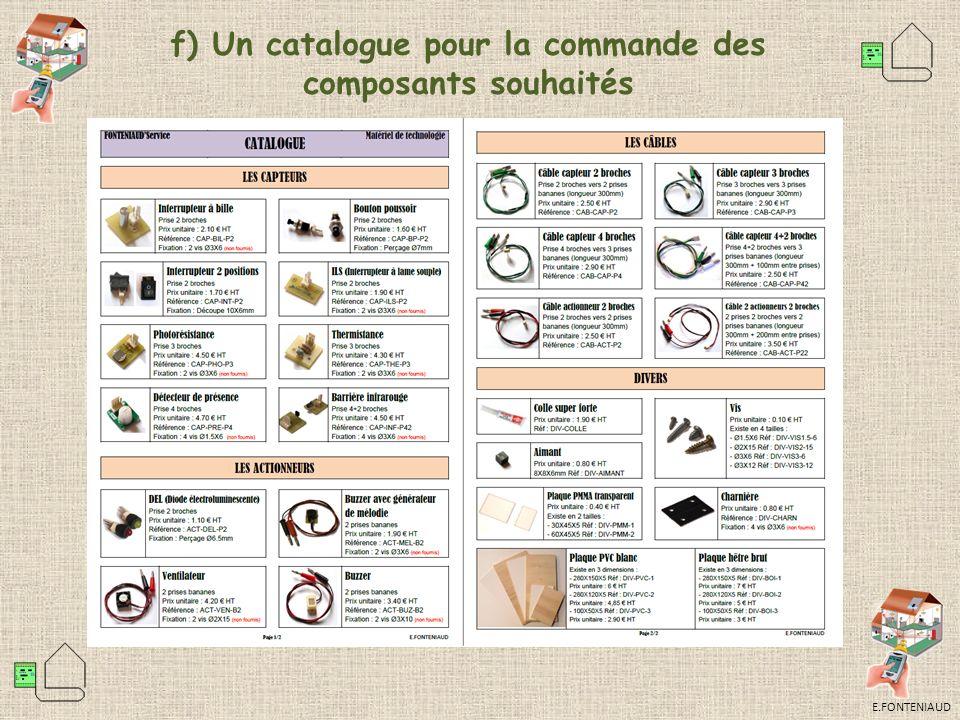 E.FONTENIAUD f) Un catalogue pour la commande des composants souhaités