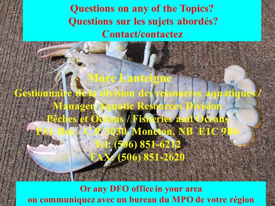Questions on any of the Topics? Questions sur les sujets abordés? Contact/contactez Or any DFO office in your area ou communiquez avec un bureau du MP