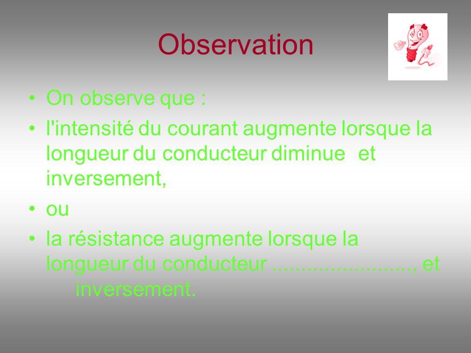 Observation On observe que : l'intensité du courant augmente lorsque la longueur du conducteur diminue et inversement, ou la résistance augmente lorsq