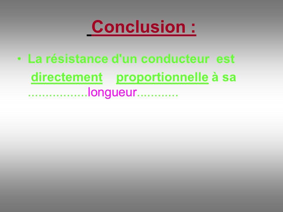 Conclusion : La résistance d'un conducteur est directement proportionnelle à sa.................longueur............