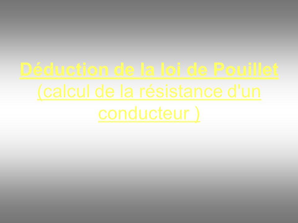 Déduction de la loi de Pouillet (calcul de la résistance d'un conducteur )