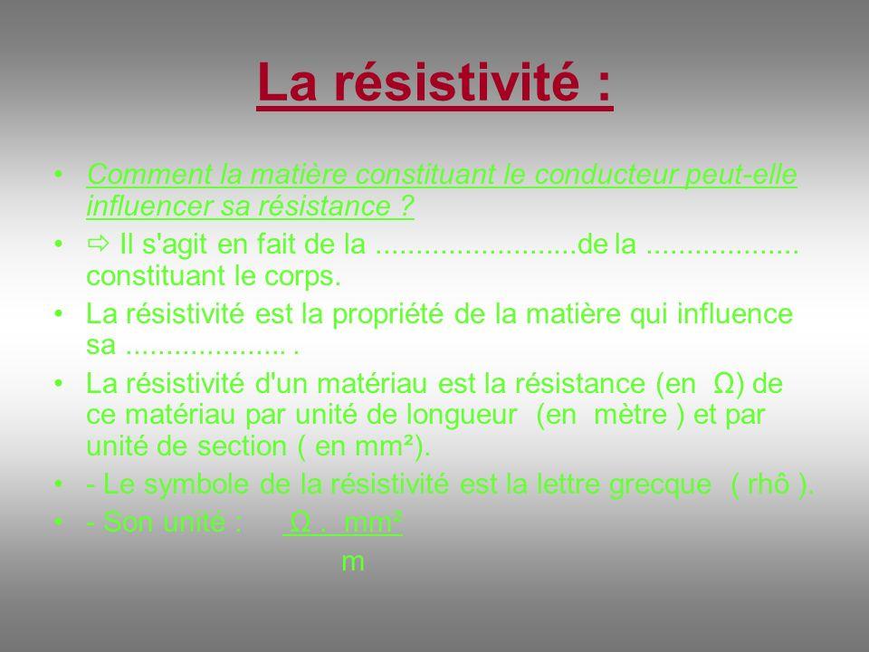 La résistivité : Comment la matière constituant le conducteur peut-elle influencer sa résistance ? Il s'agit en fait de la.........................de