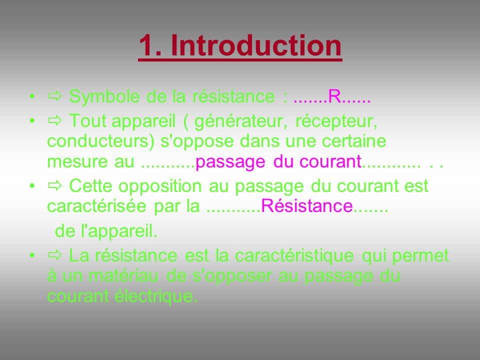 1.Introduction Symbole de la résistance :.......R......
