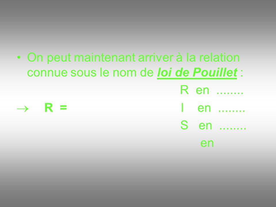 On peut maintenant arriver à la relation connue sous le nom de loi de Pouillet : R en........ R = l en........ S en........ en