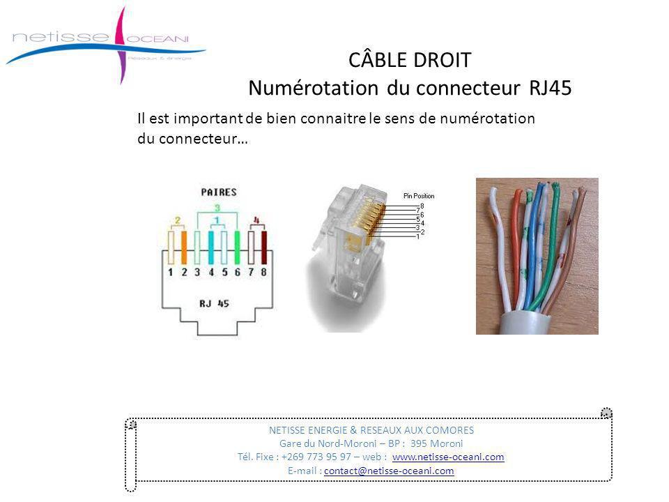 CÂBLE DROIT Numérotation du connecteur RJ45 NETISSE ENERGIE & RESEAUX AUX COMORES Gare du Nord-Moroni – BP : 395 Moroni Tél. Fixe : +269 773 95 97 – w