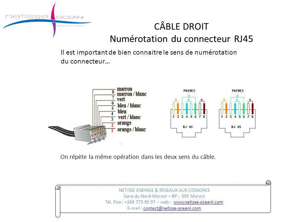 CÂBLE DROIT Numérotation du connecteur RJ45 On répète la même opération dans les deux sens du câble. NETISSE ENERGIE & RESEAUX AUX COMORES Gare du Nor