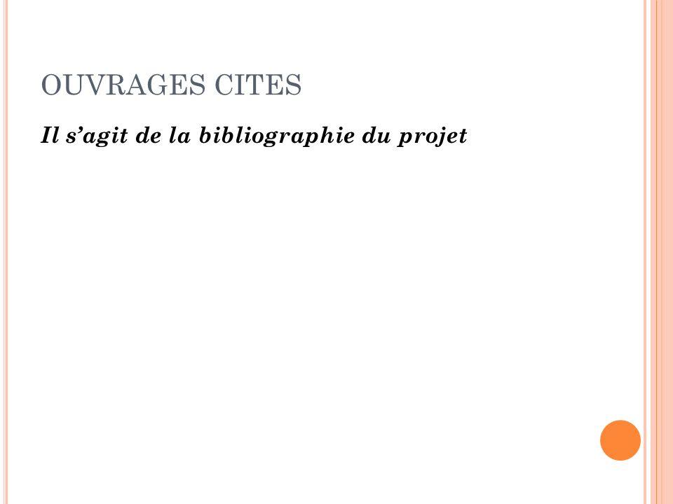 OUVRAGES CITES Il sagit de la bibliographie du projet
