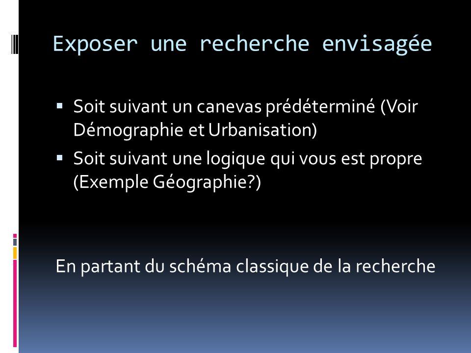 Exposer une recherche envisagée Soit suivant un canevas prédéterminé (Voir Démographie et Urbanisation) Soit suivant une logique qui vous est propre (Exemple Géographie?) En partant du schéma classique de la recherche