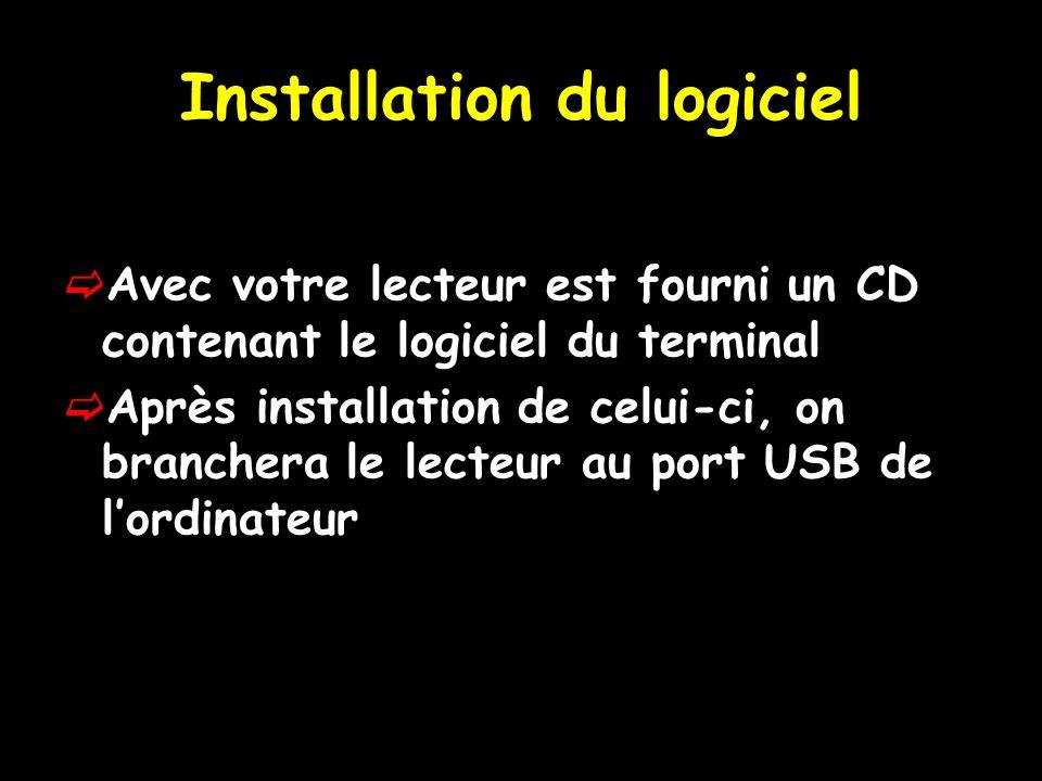 Installation du logiciel Avec votre lecteur est fourni un CD contenant le logiciel du terminal Après installation de celui-ci, on branchera le lecteur