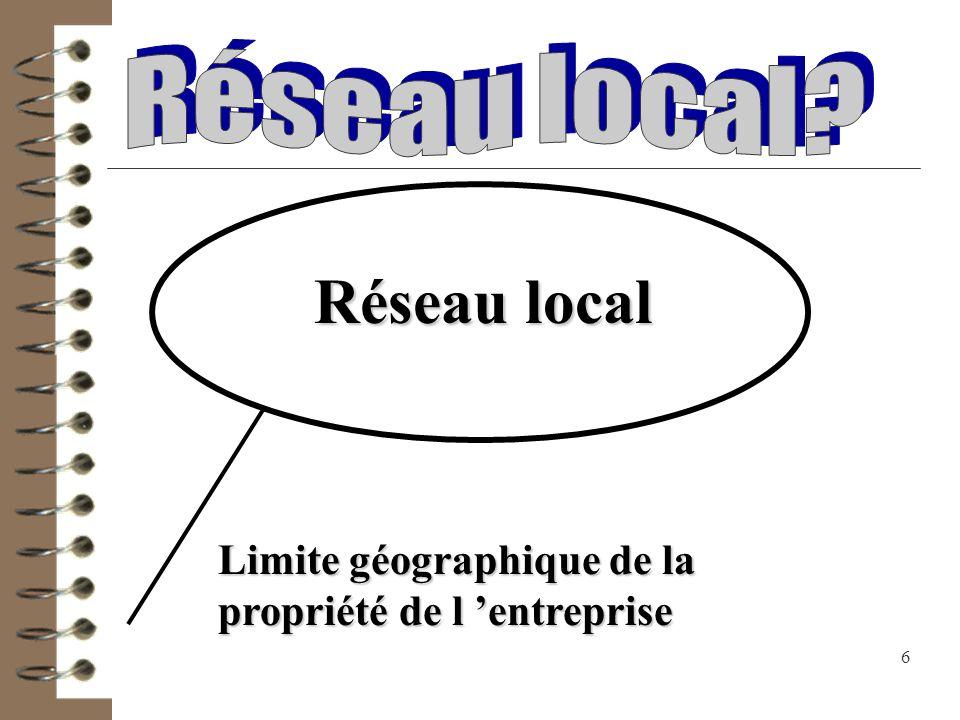 7 Réseau local (RL) RL RL RL RL Interconnexion de plusieurs réseaux ou outils informatiques.