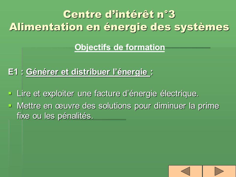 Centre dintérêt n°3 Alimentation en énergie des systèmes Objectifs de formation E1 : Générer et distribuer lénergie : Lire et exploiter une facture dé