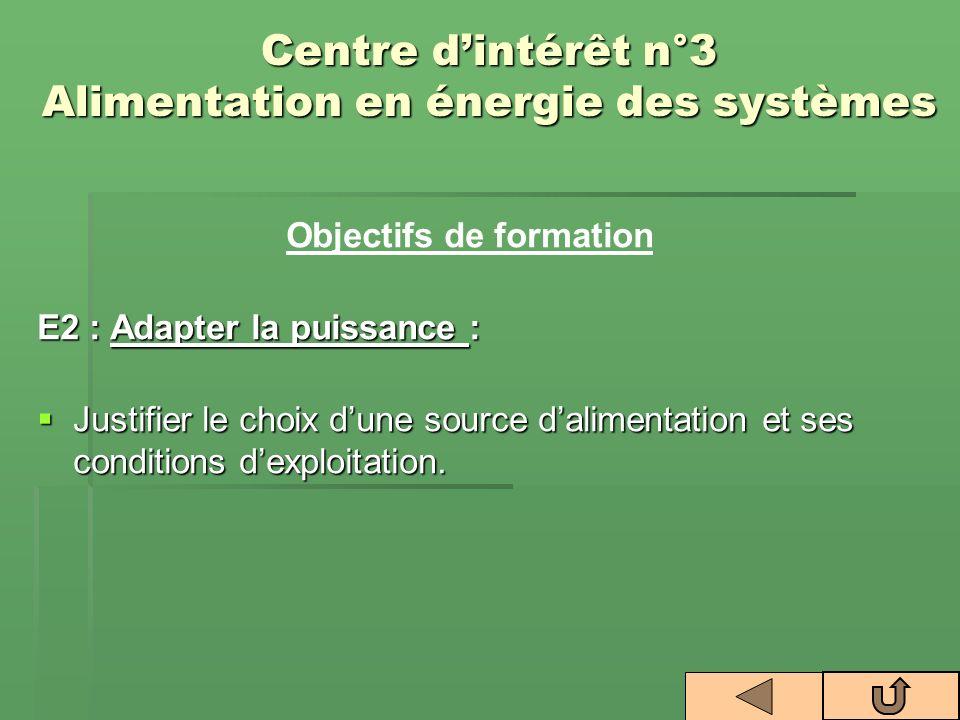 Centre dintérêt n°3 Alimentation en énergie des systèmes Objectifs de formation E2 : Adapter la puissance : Justifier le choix dune source dalimentati
