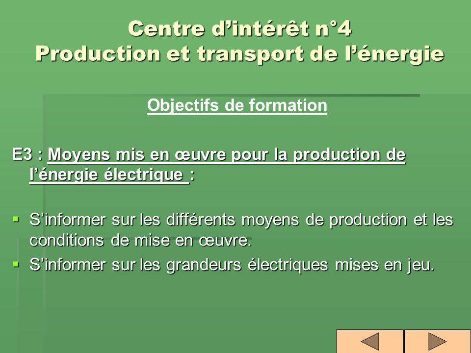 Centre dintérêt n°4 Production et transport de lénergie Objectifs de formation E3 : Moyens mis en œuvre pour la production de lénergie électrique : Si