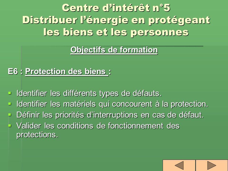 Objectifs de formation E6 : Protection des biens : Identifier les différents types de défauts. Identifier les différents types de défauts. Identifier
