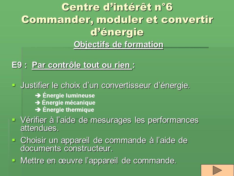 Centre dintérêt n°6 Commander, moduler et convertir dénergie Objectifs de formation E9 : Par contrôle tout ou rien : Justifier le choix dun convertiss