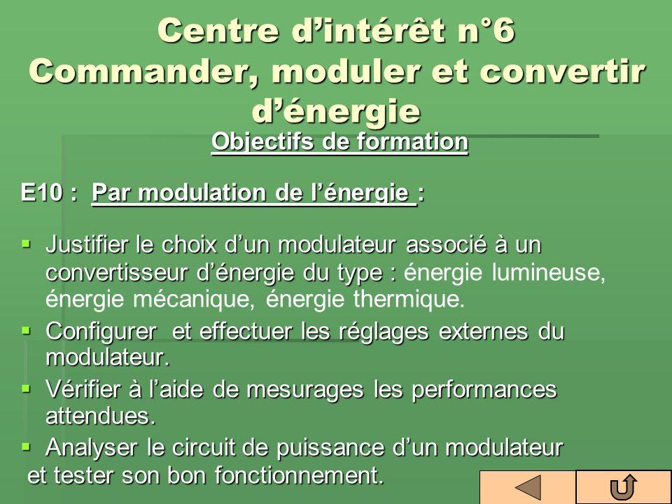 Centre dintérêt n°6 Commander, moduler et convertir dénergie Objectifs de formation E10 : Par modulation de lénergie : Justifier le choix dun modulate