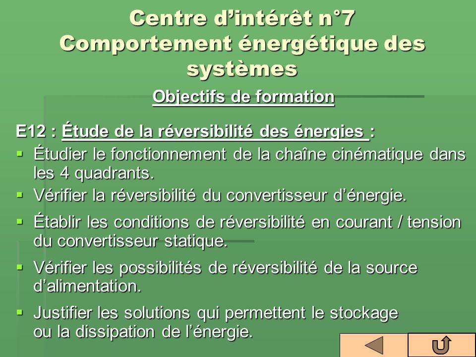 Objectifs de formation E12 : Étude de la réversibilité des énergies : Étudier le fonctionnement de la chaîne cinématique dans les 4 quadrants. Étudier