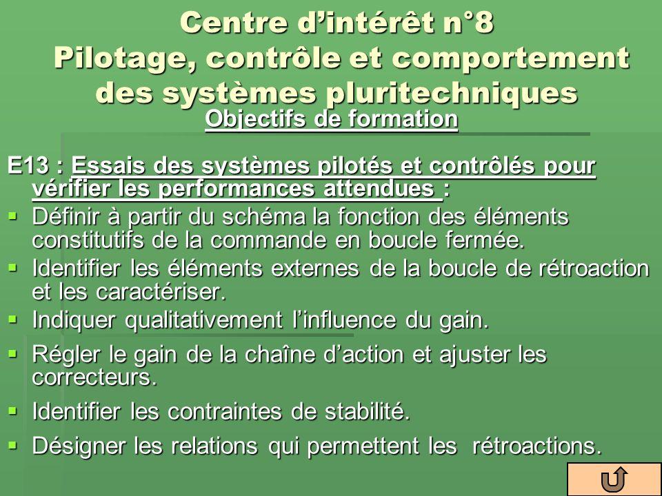 Centre dintérêt n°8 Pilotage, contrôle et comportement des systèmes pluritechniques Objectifs de formation E13 : Essais des systèmes pilotés et contrô