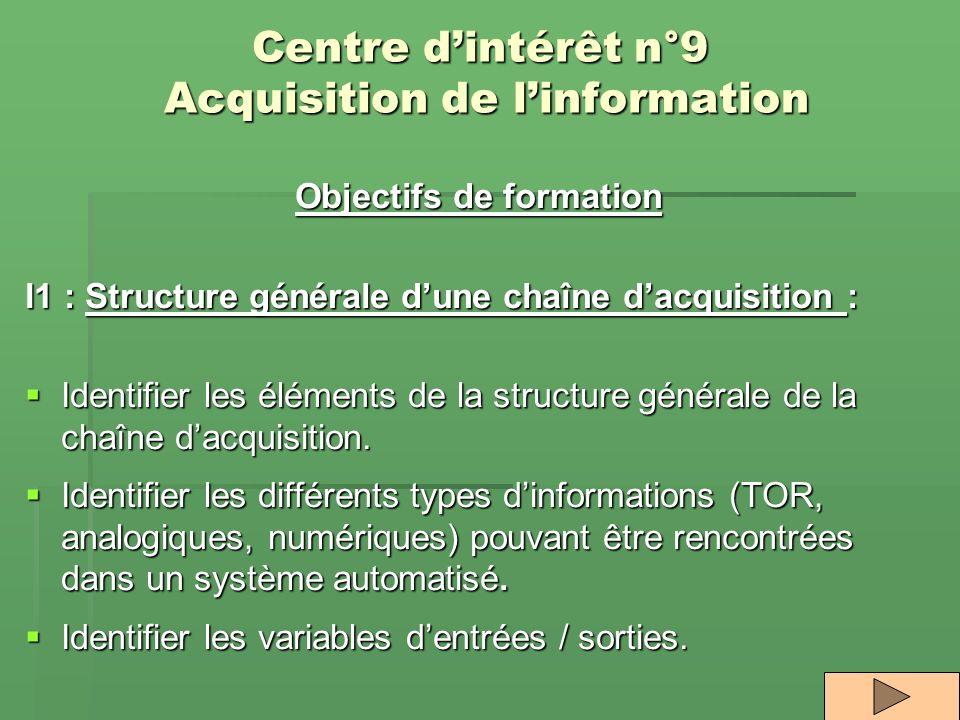 Centre dintérêt n°9 Acquisition de linformation Objectifs de formation I1 : Structure générale dune chaîne dacquisition : Identifier les éléments de l