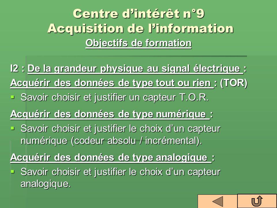Centre dintérêt n°9 Acquisition de linformation Objectifs de formation I2 : De la grandeur physique au signal électrique : Acquérir des données de typ