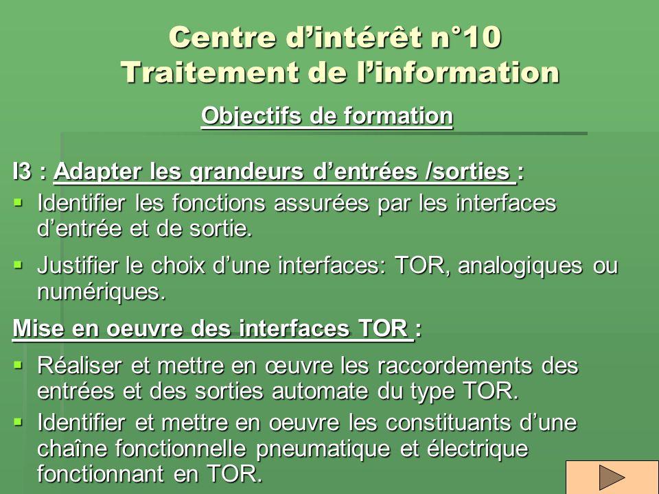 Centre dintérêt n°10 Traitement de linformation Objectifs de formation I3 : Adapter les grandeurs dentrées /sorties : Identifier les fonctions assurée