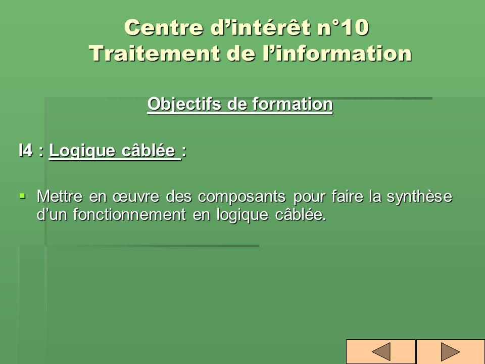 Centre dintérêt n°10 Traitement de linformation Objectifs de formation I4 : Logique câblée : Mettre en œuvre des composants pour faire la synthèse dun