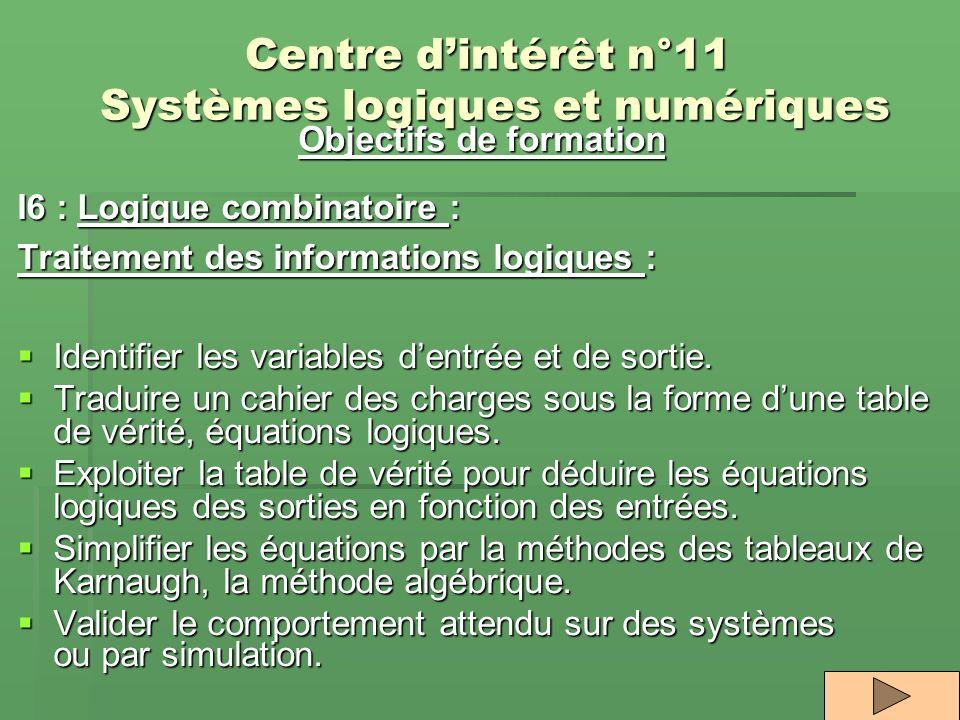 Centre dintérêt n°11 Systèmes logiques et numériques Objectifs de formation I6 : Logique combinatoire : Traitement des informations logiques : Identif
