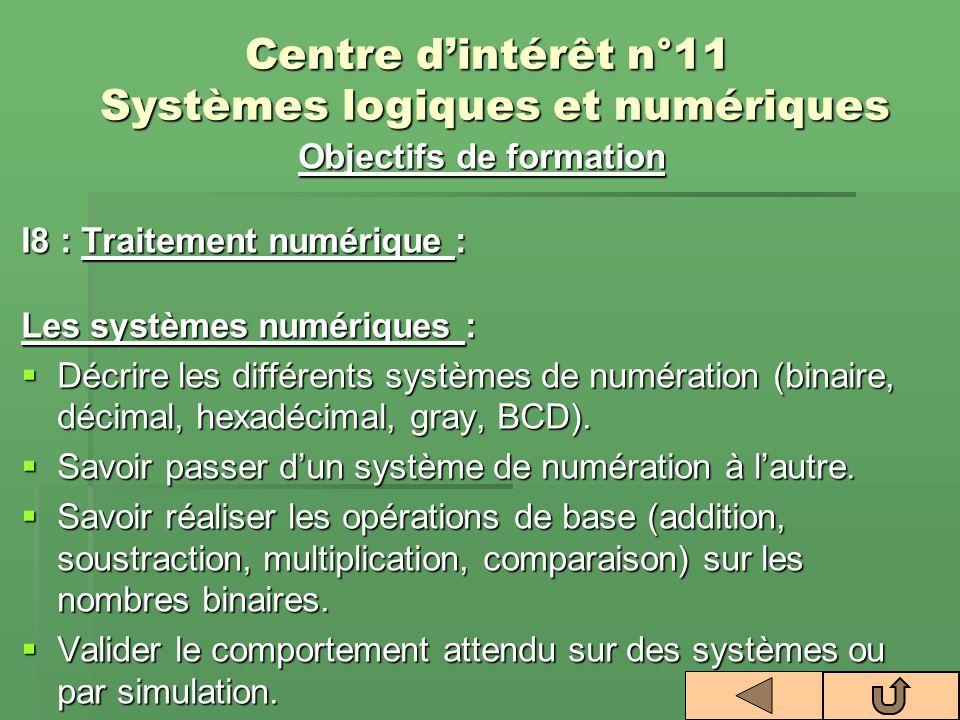 Centre dintérêt n°11 Systèmes logiques et numériques Objectifs de formation I8 : Traitement numérique : Les systèmes numériques : Décrire les différen