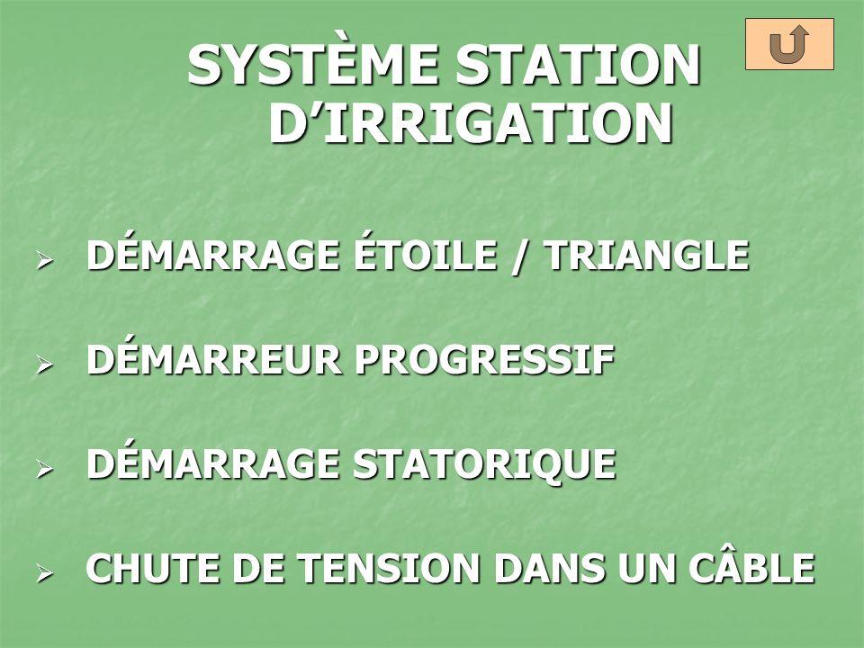 SYSTÈME STATION DIRRIGATION DÉMARRAGE ÉTOILE / TRIANGLE DÉMARRAGE ÉTOILE / TRIANGLE DÉMARREUR PROGRESSIF DÉMARREUR PROGRESSIF DÉMARRAGE STATORIQUE DÉM